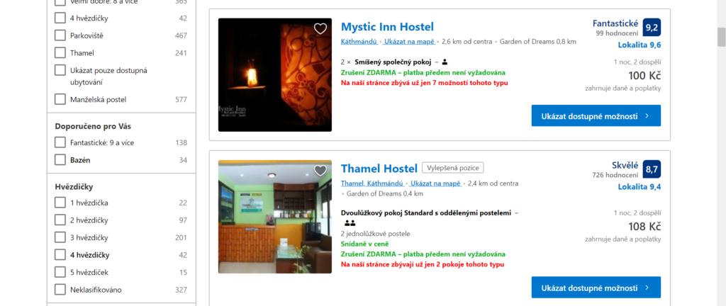 vyhledání nejlevnějšího ubytování Booking