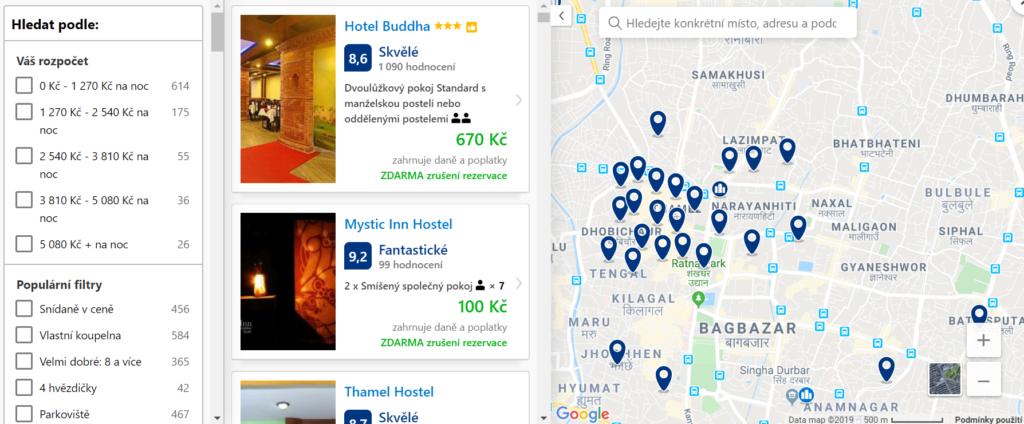 mapa Booking.com