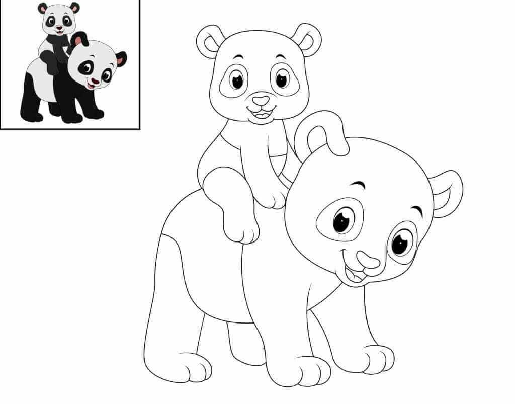Omalovánka Panda s miminkem