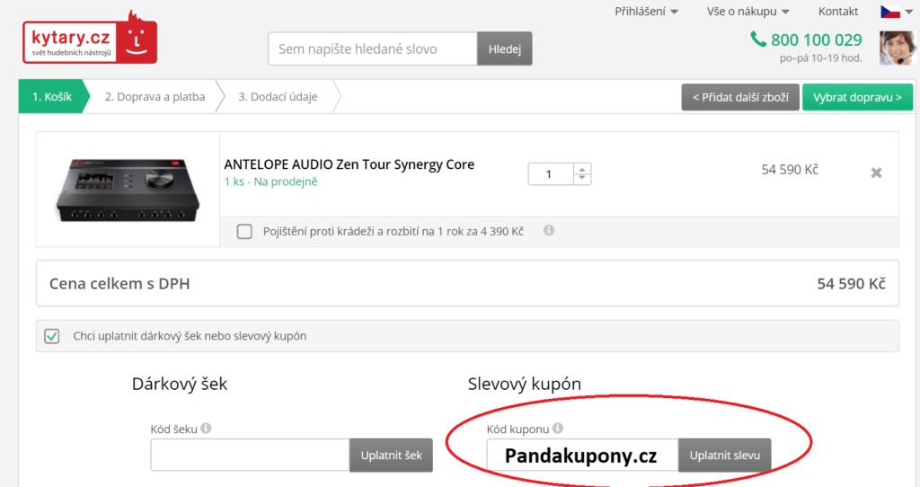 Dárkový šek nebo slevový kupón Kytary.cz
